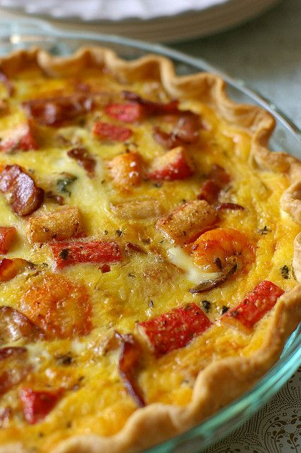 Seafood Quiche - with bacon, spinach,  low fat sour cream, onion, mushrooms, prawn, crab, mussels,  scallops, Monterey Jack + Cheddar cheese. - YUM!