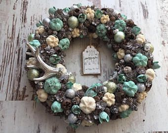 Rustic christmas door wreath home decor pastel blue baby blue shabby chic xmas 2017 deer