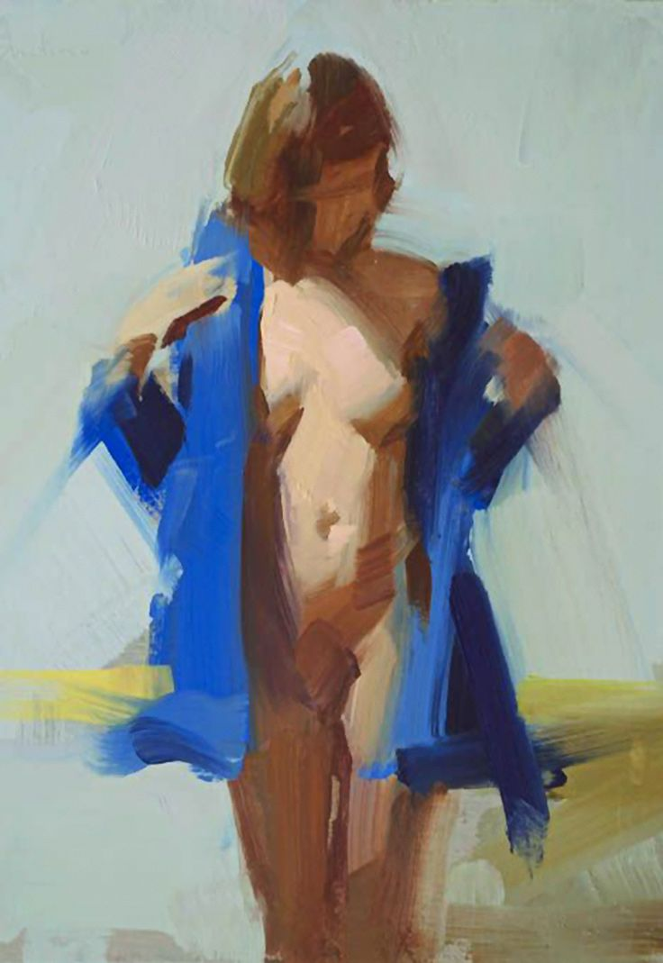 """Blue Jacket"" - David Shevlino, oil on panel, 2013 {contemporary figurative artist #expressionist discreet semi-nude brunette female standing woman cropped painting} Exposed !! davidshevlino.com"