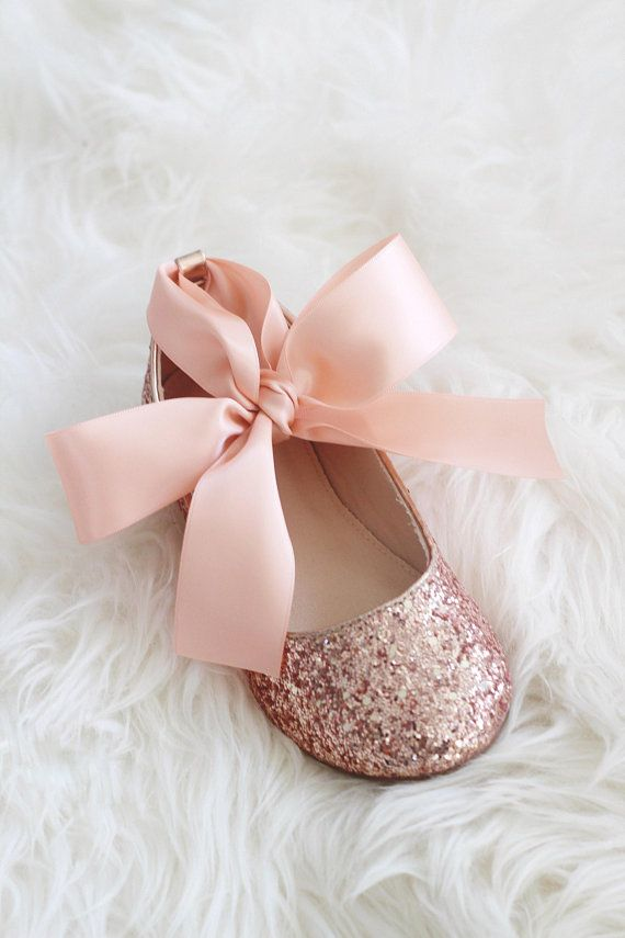 5737b8a4018 ROSE GOLD rock glitter ballet flats with Satin Ankle Tie - Flower girl shoes