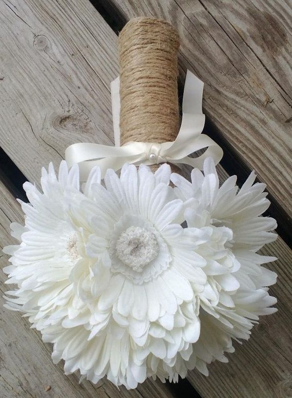 Daisy Bridal Bouquet wrapped in Natural twine by SilkFlowersByJean, $23.00 -- instead of silk flowers cause those are expensive we should use gerber daisies.