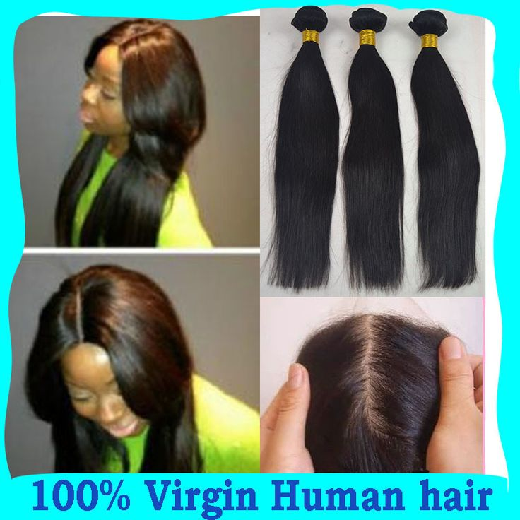 7A Peruvian Virgin human hair silk base closure with bundles, silky straight cheap hair extension 3 bundles with silk closure