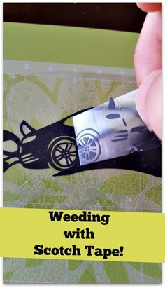 I just figure out a super easy way of weeding with scotch tape! It is perfect for those small hard to get heat transfer vinyl pieces.