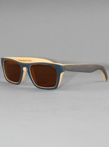 Waiting for the Sun Solid Bamboo Navy Sunglasses