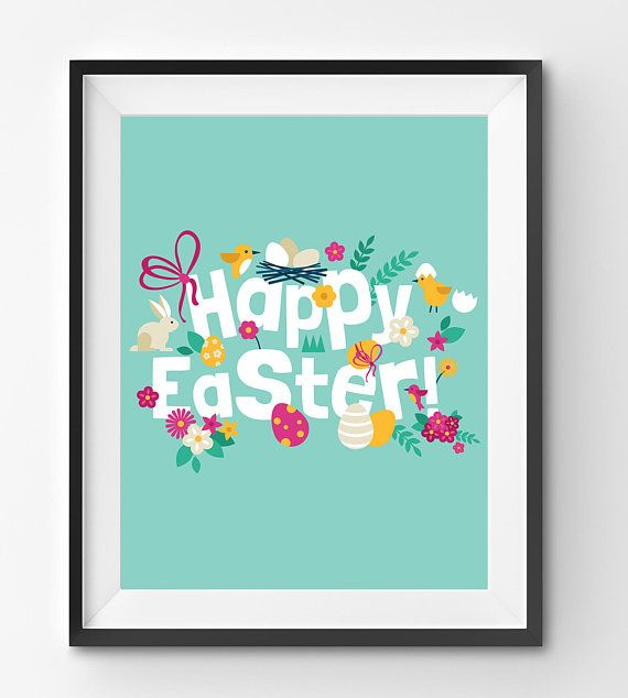 Happy Easter Print in Green Background with Bunny Birds