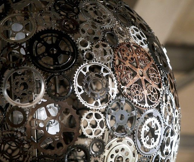 Recycled Bicycle Parts Chandelier