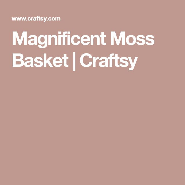 Magnificent Moss Basket | Craftsy
