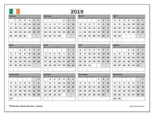 Free printable calendar 2019, with the holidays of Ireland. Annual calendar.