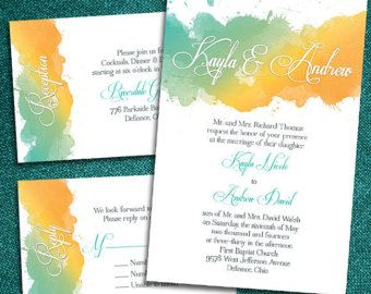 Watercolor Wedding Invitations によく似た商品を Etsy で探す