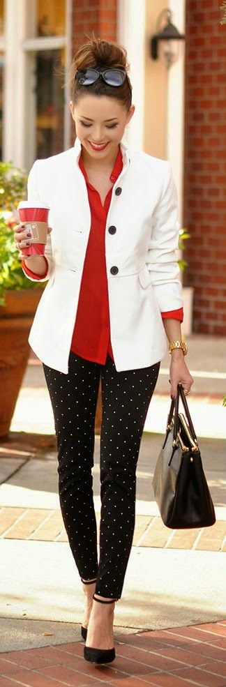 Polka Dot Pants with Coat Vintage Detail In Swing, Red Blouse, Black Handbag / Hapa Time