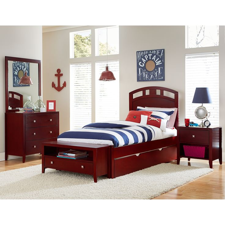 Hillsdale Pulse Twin Arch Bed with Trundle, Cherry, Brown