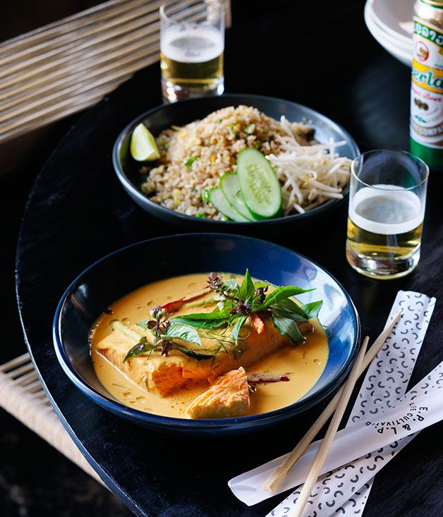 Recipe for turmeric and coconut salmon curry by Louis Tikaram from EP & LP, Los Angeles.