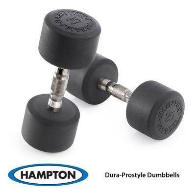 Hampton 30 lb. DURA-PRO Urethane (Round Pro-Style Dumbbell ) Hard Chrome Ergo Handle, pr.