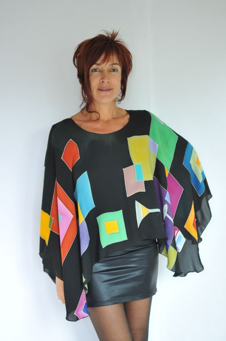 Hand Painted Silk Poncho