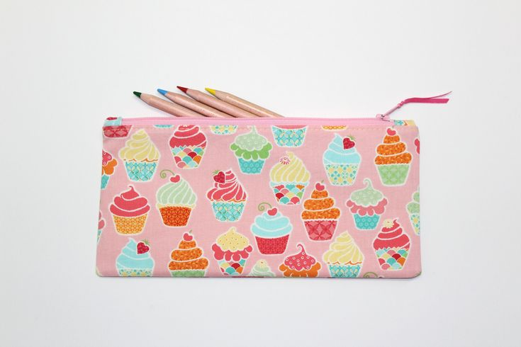 Cupcakes Pencil Case, Pencil Pouch, Small Zipper Pouch, Small Make Up Bag, Cute School Supplies by LittleFoxSewsLots on Etsy