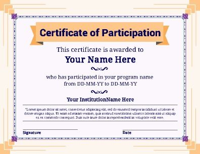 Certificate of Participation with a fresh look. Great for any use from clubs to sports. Adjust to your own needs. Try this Free Template now using the PageProdigy Cloud Designer: www.pageprodigy.com/free-certificate-templates