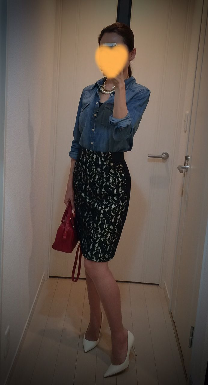 Shirt: H&M Skirt: REBECCAMINKOFF Bag: Saint Laurent Heels: Jimmy Choo