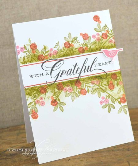 Grateful Heart Bird Card by Nichole Heady for Papertrey Ink (February 2013)