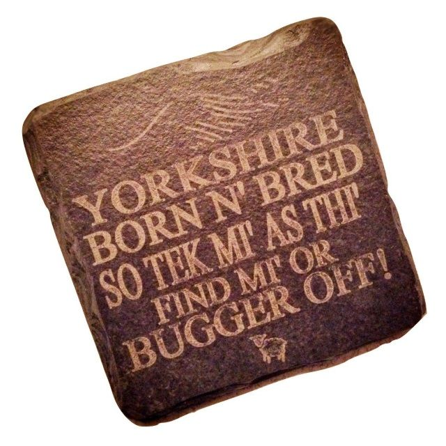 """Square Slate Coaster in """"Yorkshire Born n Bred"""" Etched Design by Platters Slate"""