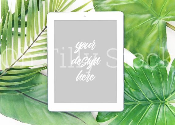 Styled Desktop Image with iPad Mockup inc Tropical Green