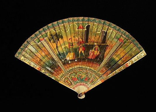 Fan (Brisé)  Date: first quarter 18th century Culture: French (probably) Medium: ivory, oil paint, paper Dimensions: 8 1/2 in. (21.6 cm) Credit Line: Brooklyn Museum Costume Collection at The Metropolitan Museum of Art,