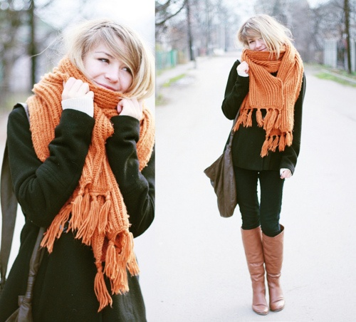 Orange ScarfBulky Scarf, Warm Autumn, Scarf Autumn, Scarves, Autumn Colors, Brown Boots, Fall Winte Style, Boots Outfit, Orange Scarf