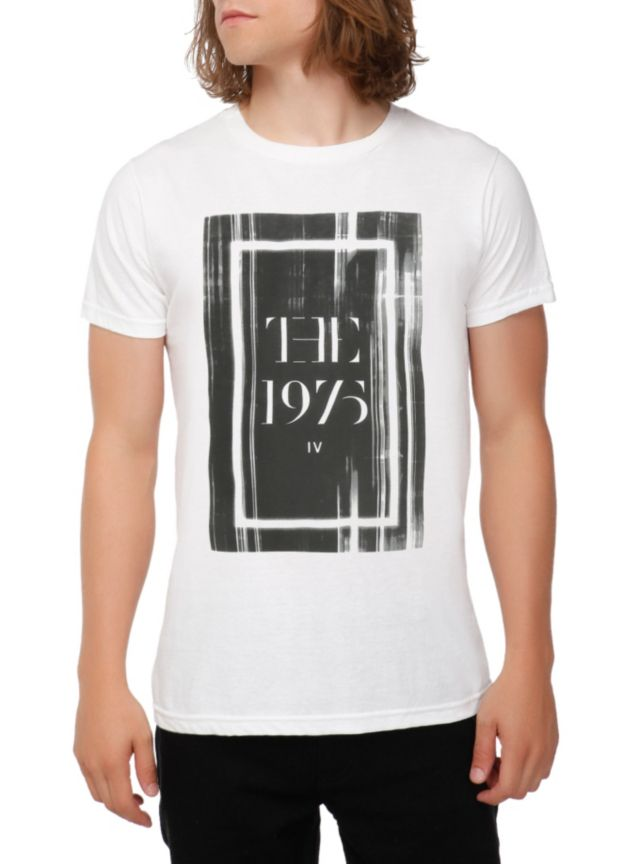 White T-shirt from The 1975 with cover art for IV.