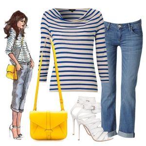 С чем носить белые босоножки: синие джинсы, полосатая кофта, ярко-желтая сумка