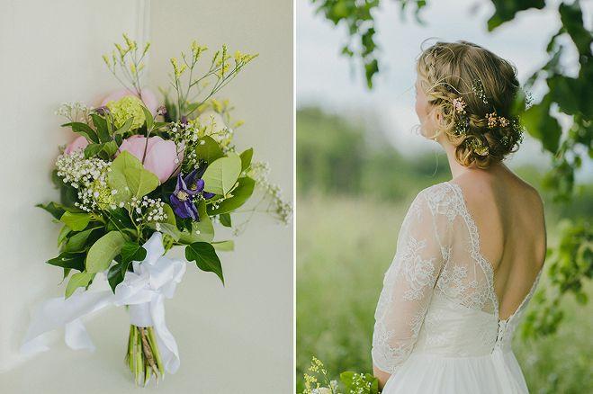 Caroline Dyer-Smith Photography - pretty floral wedding hair, lace wedding dress by Cathy Telle. Taken on the hills of the Herrliberg, Zurich Switzerland.
