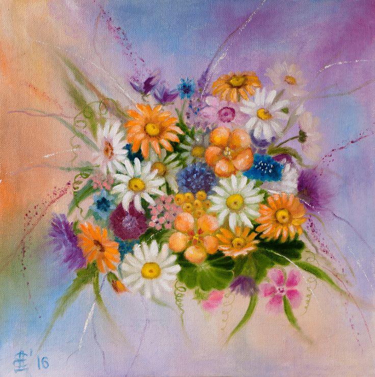 FLOWER'S FANTASY. Original oil painting on primed canvas panel 30х30 cm (11,8''х11,8'') by ArtforInterior on Etsy