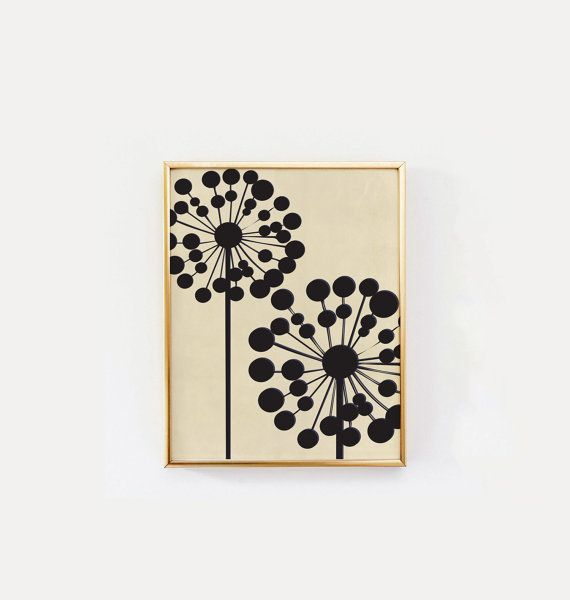 Black Dandelion Mid Century Modern Wall Art by LovelyPosters