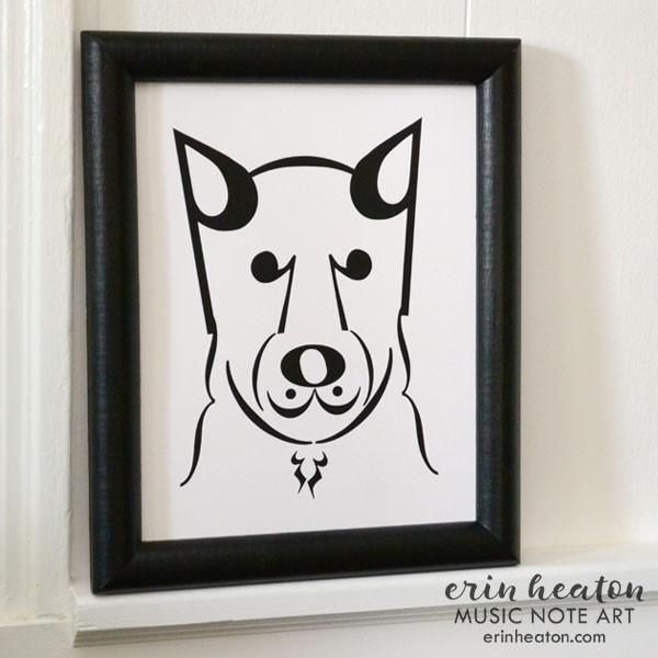 """Dog Series: """"Coda"""" Music Note Art Print"""