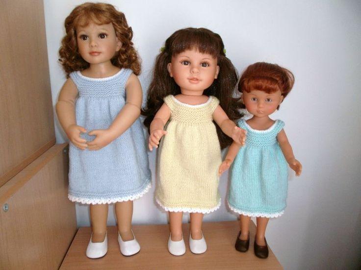 Petite robe pour poupée (patron tricot en français), 3 tailles.  Little dress for dolls (3 sizes), free knitting pattern in French