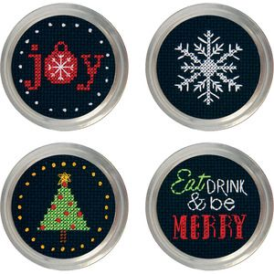 General Crafts > Jar Crafts > Set Of 4 - Holiday Cheer Jar Topper Counted Cross Stitch Kit: A Cherry On Top