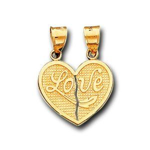 14K Solid Yellow Gold Love Heart Split Charm Pendant IceNGold. $179.95. Save 63% Off!