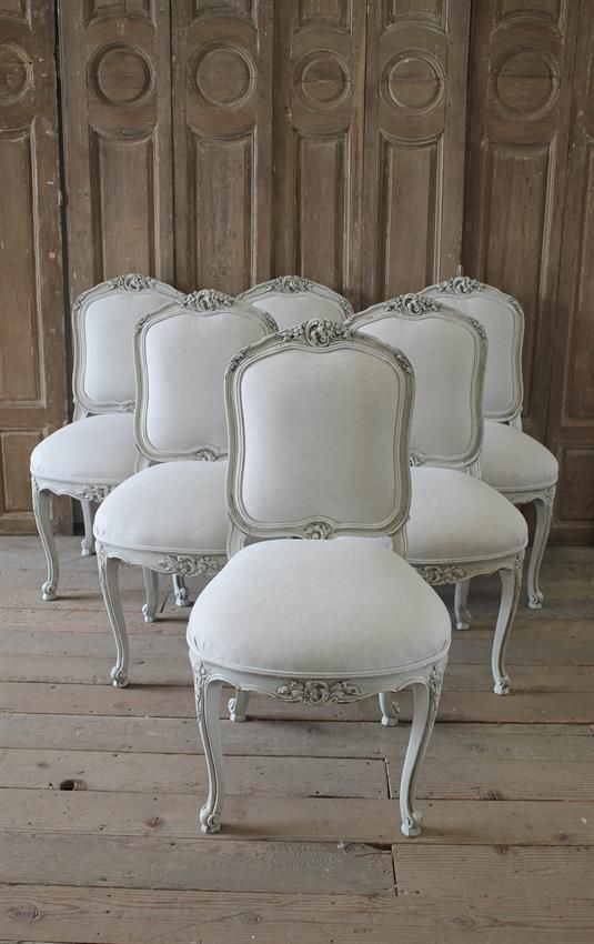 fd72f9bb21d56 20th Century Set of Six Carved French Dining Chairs Upholstered in Belgian  Linen from Full Bloom Cottage  frenchbed  frenchfurni…