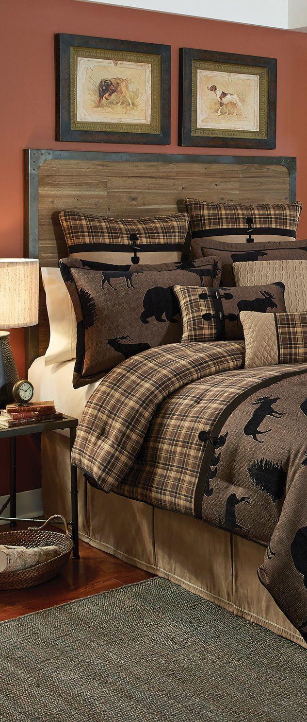 bedding woodsy bedroom lodge bedroom plaid bedding basement bedrooms