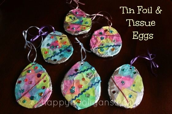 Tin foil and tissue Easter eggs - great fine-motor craft for preschoolers - Happy Hooligans