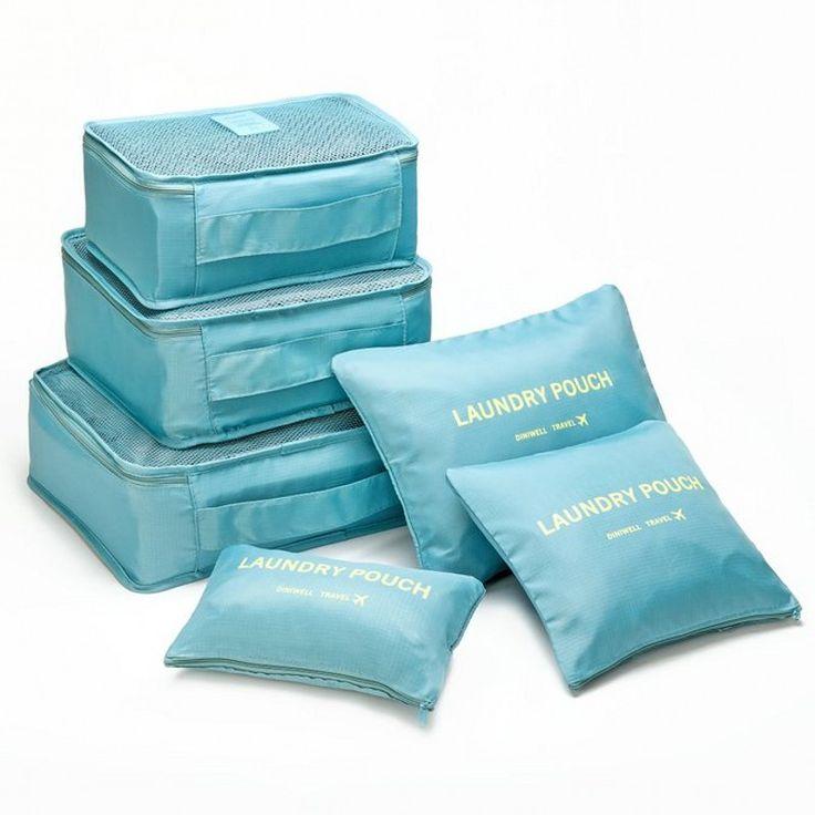 6PCS Waterproof Travel Storage Bag Clothes Underwear Bra Packing Cube Luggage Organizer Pouch Family Closet Divider Organiser