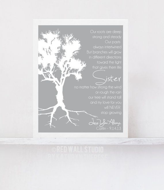 Gift for Sister - Birthday Wedding Gift for Sister of Bride Roots Family Tree, Sister Poem - Maid of Honor Gift for Her Art Print Poster