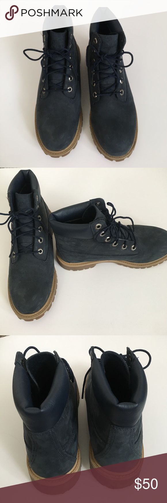 Blue Timberland boots Men's 6.5, fits women's 8.5/9! Perfect condition worn only once! Timberland Shoes Lace Up Boots