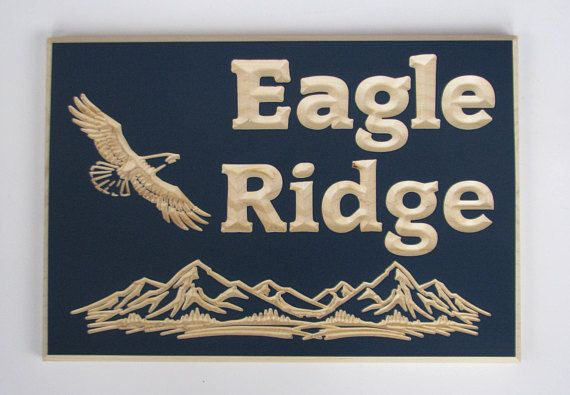 Custom Carved Wood Cottage or Camp Sign with Carved Eagle and