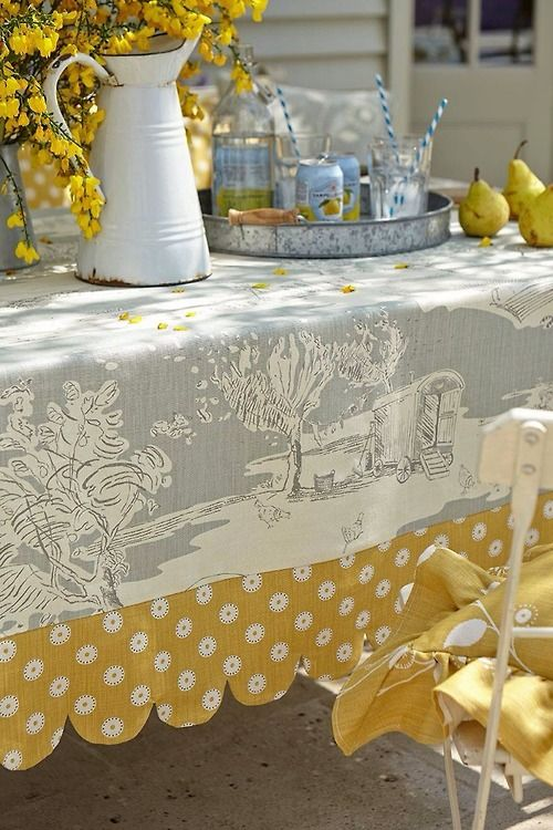 Adding a complimentary border could add additional size to available tablecloth yardage.