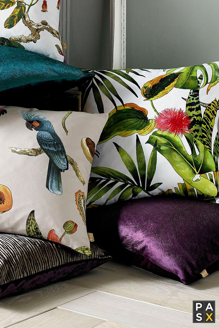 Tropical Leaves Cushion Embrace the tropical theme with this bright green and white jungle cushion. Featuring an assortment of plants on the front with a pain reverse.