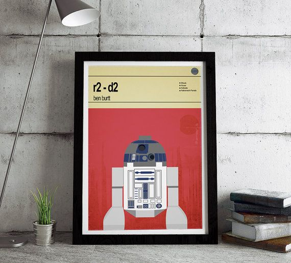This is a stylish poster print of the Lego Star Wars character R2-D2, fit to grace any man cave or children's bedroom. Hand drawn with a graphics tablet and pen this print is styled with typography and features the designer who syntheszied those beeps and bleeps that we've all come to know and love, and the Lego Starwars character abilities.
