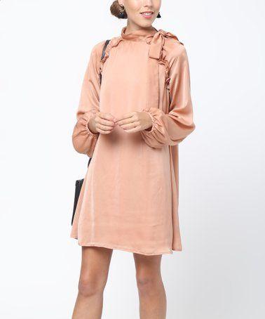 84fd974ee9 Taupe Neck-Tie Ruffle Puff-Sleeve Shift Dress - Women by Loveriche  zulily   zulilyfinds