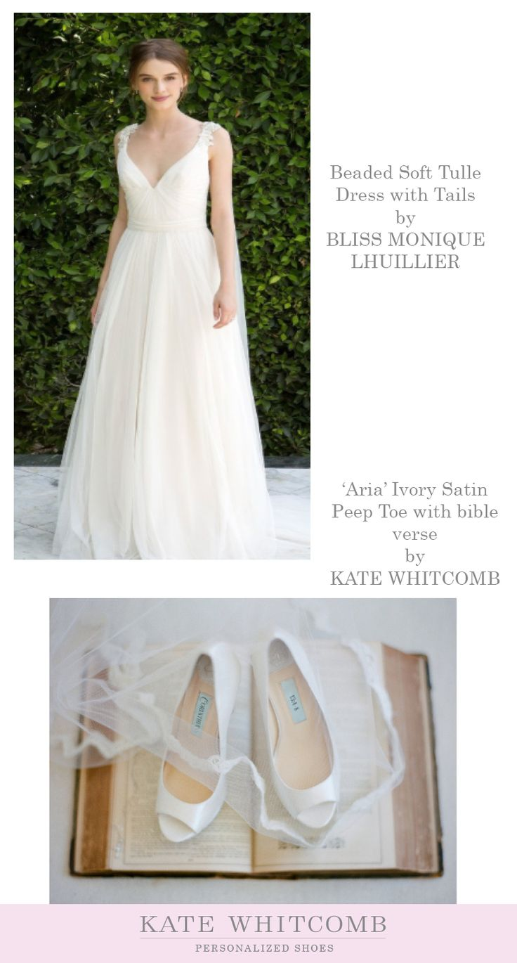 Beaded Soft Tulle Dress with Tails by BLISS MONIQUE LHUILLIER and Ivory satin peep toe wedding shoes by KATE WHITCOMB
