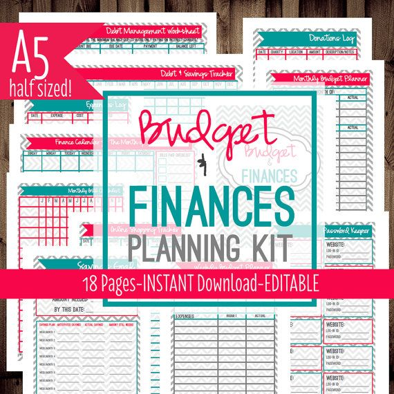Printable Budget Planner for A5 size Filofax, Desk Size Daytimer, Arc Jr, etc... #filofax #budgeting #budget