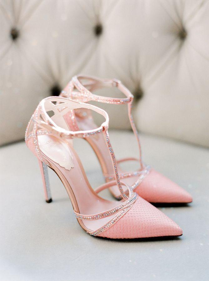 Chic + sparkly pink wedding shoes: http://www.stylemepretty.com/2015/12/15/summer-blush-peach-wedding-in-portugal/   Photography: Brancoprata - http://www.brancoprata.com/: