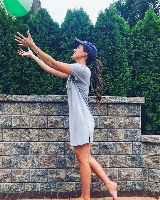 Click link for outfit details. || Poolside style. Summer 2017 2018 outfit idea. Gray t-shirt dress OOTD. grey t-shirt dress. Vineyard vines navy blue baseball hat outfit idea. Preppy ootd. Pool day outfit idea. Pool party outfit.  Curly long hair pony tail with baseball hat. Baseball hat hairstyle. How to style baseball cap. #affiliatelink